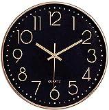 Delgeo Orologio da Parete in Oro Rosa,Decorazione da Parete, Moderno Orologio da Parete Silenzioso per Casa Ufficio Cucina (25cm, Oro Rosa)