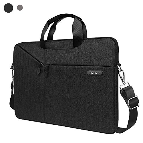 15.6 Inch Laptop Bag,Slim Shoulder Bag for Men&Women,laptop sleeve Case with Strap and Handle Compatible Dell,HP,Asus,Acer,MacBook Pro,Lenovo(Black)