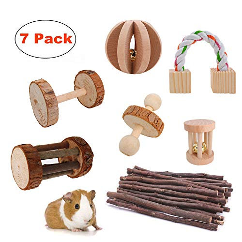 JanYoo Rat Chinchilla Toys Guinea Pig Accessories Bunny Chew Toys for Christmas Rabbits Hamster Gerbil Pack of 7