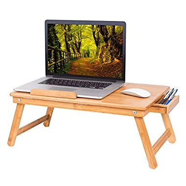 BirdRock Home Bamboo Laptop Bed Lap Tray | Multi-Position Adjustable Tilt Surface | Pull Down Legs | Storage Drawer | Great for Computer iPad Book Coloring Stand | Natural