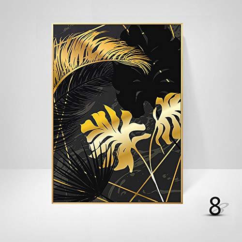 WSNDGWS Sofa achtergrond muurdecoratie schilderij licht eenvoudige plant gouden blad kunst schilderen kern zonder fotolijst 60x90cm H6