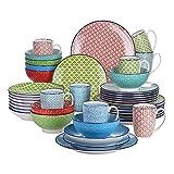 FORETTY DF819 Conjunto de vajillas de múltiples Colores de Porcelana de 40 Piezas con 8 * Placa de Cena, Placa de Postre, Placa de Sopa, tazón, Conjunto de Tazas Decoración de Muebles