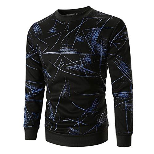 T-Shirt Herren Pullover Herren Bequeme Lässige Langarm Slim Fit All-Match Rundhalsherren T-Shirt Herbst Neue Gemischte Faser Weichen Stoff Trendige Herren T-Shirt ZZ-Blue M