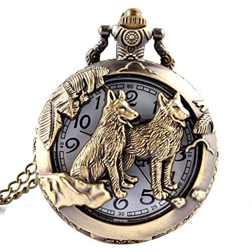 Reloj de bolsillo de cuarzo, diseño de lobo y luna, bronce,