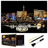 Ageqi Scratch Art Paper Rainbow Painting Sketch Pad for Adult and Kids, DIY Night View Scratchboard - 16'' x 11.2'' with 3 Tools (Las Vegas)