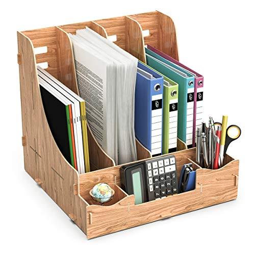 Lesfit Holz Stehsammler, Büro Stehordner Zeitschriftensammler, Katalogsammler, Dokumentenablage Magazinablage, Prospekte, Briefablage Halter mit Stifteköcher für Schreibtisch, Bürotisch