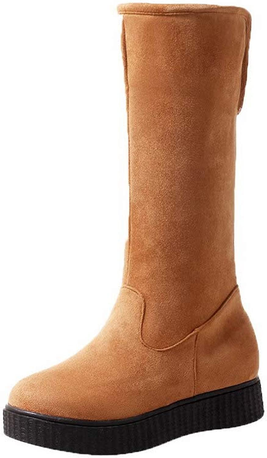AmoonyFashion Women's Round-Toe Low-Top Low-Heels Solid Imitated Suede Boots, BUSXT128154