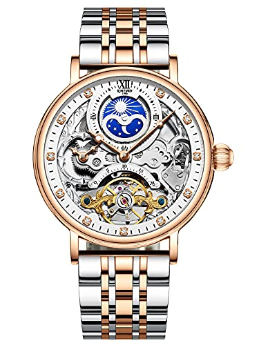 Reloj de Acero Inoxidable de Pulsera Mecánico Automático para Hombre Impermeable