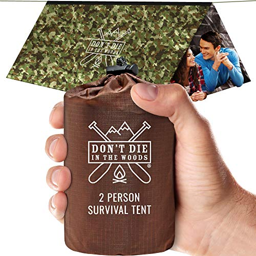 World's Toughest Ultralight Survival Tent • 2 Person Mylar Emergency Shelter Tube Tent + Paracord • Year-Round All Weather Protection For Hiking, Camping, & Outdoor Survival Kits (Camo)