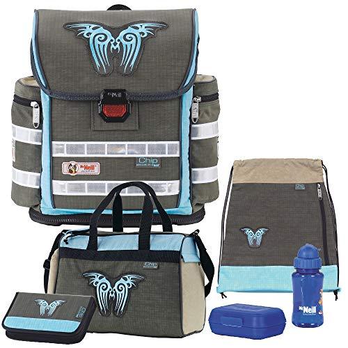 CHIP Khaki - McNeill Ergo Light 800 Plus Schulranzen-Set 6tlg. mit Sporttasche, BROTDOSE und TRINKFLASCHE