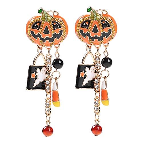 Faderr Pendientes de gota, 1 par de pendientes de fiesta de Halloween, fantasma calabaza gota pendientes divertidos pendientes largos de joyería accesorios para las mujeres
