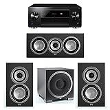 ELAC Uni-Fi 3.1 System with 2 ELAC UB5 Bookshelf Speakers, 1 UC5 Center Speaker, 1 ELAC Debut S10EQ Powered Subwoofer, 1 Pioneer SC-LX901 A/V Receiver