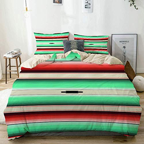 Beige Duvet Cover,Turquoise, Orange & Navajo White Blanket Stripes,3 Pieces Quality Printed Microfiber Bedding Set,Modern Design with Softness Comfortable
