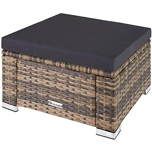 TecTake 800768 Poly Rattan Sitzhocker mit Kissen, Lounge Hocker für Garten Balkon Terrasse, witterungsbeständig - Diverse Farben - (Natur | Nr. 403695)