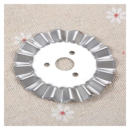 QWXZ Cutting disc 1pc 45mm Rotary Cutter Blade Replacement Steel Gear Circular/Skip Knife Quilt/Cut Tool Paper/Leather/Cloth/Vinyl Practical and wear-Resistant (Color : Three-Hole Wave blad)