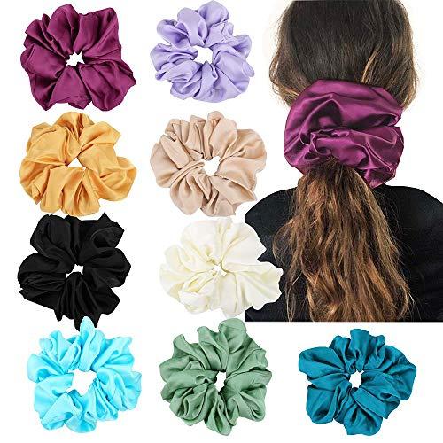 TYWZJ Satin Hair Scrunchies - Pack of 9 Big Size Silk Scrunchy Hair Bands Hair Ties Hair Accessories for Women Girls