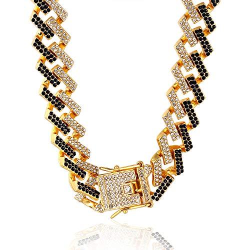 Halukakah Diamante Cubano Cadena de Oro para Hombre Iced out,15MM Fuji Chapado en Oro Real de 18k Gargantilla Collar 60cm,Diamantes Blancos Negro Multicolores Juego de Puntas,Regalo para El