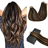 Googoo Remy Hair Extensions Tape in Human Hair Ombre Dark Brown Highlighted...