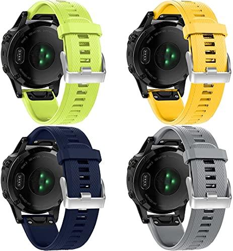 Chainfo Correa de Reloj Compatible con Garmin Fenix 6X Pro/Fenix 6X Sapphire/Fenix 3 / Fenix 5X Plus/5X Sapphire, Silicona Correa Reloj con Acero Inoxidable Hebilla desplegable (4-Pack I)