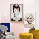 JIUJIUJIU Hepburn Marilyn Monroe Blasen Bubblegum Poster