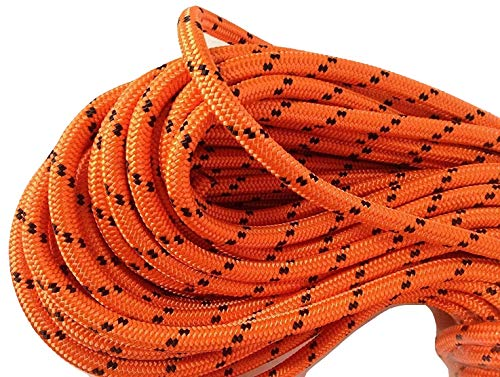 1/2 Inch by 150 Feet Double Braid Polyester Arborist Rigging Rope, Orange and Black