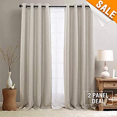 Faux Linen Room Darkening Curtains for Bedroom, Light Reducing Grommet Top Window Treatments (One Pair, 50 W x 84 L, Beige)