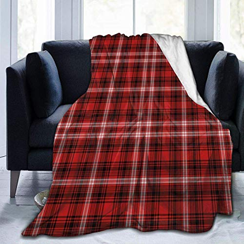 Red Black Plaid Nostalgic Striped Pattern Micro Fleece Flannel Throw Blanket Lightweight Super Soft Bed Blanket Fit Couch Suitable for All Season