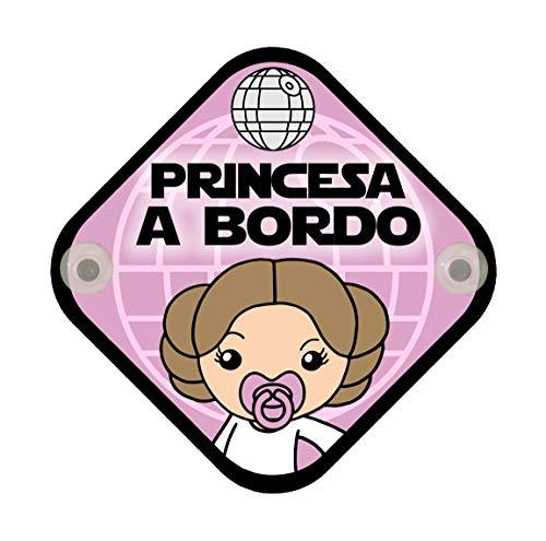 Cartel madera Bebé a bordo. Princesa a bordo. Parodia. Beb