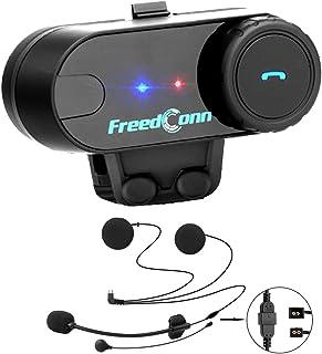Freedconn インカム インターカム, バイクインカム bluetooth バイク用 電話応答 FM機能 GPS案内 日本語説明書T-COMVB ブルートゥースインターコム防水 ソフトタイプケーブル 1台セット