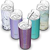 Stainless Steel Insulated Cup - THILY Travel Mug with Lid and Straw, 16 oz Reusable Tumbler, Keep...