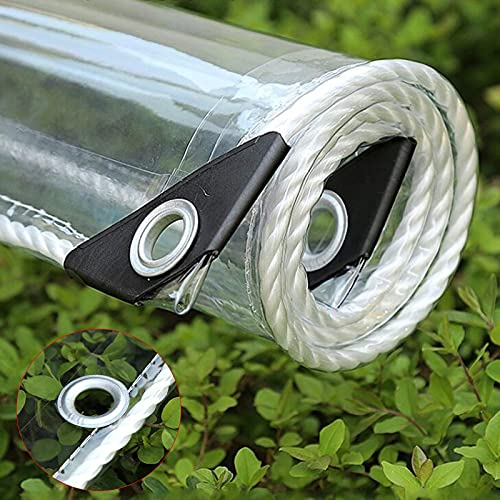 WaiMin Lona transparente de PVC resistente impermeable con ojales, toldo de toldo, cortina de lluvia de cristal suave, aislamiento antienvejecimiento, para patio al aire libre, (0,35 mm/365 g/m²)