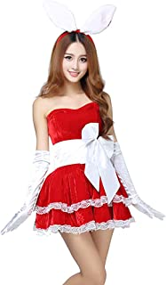 Women's Costume Party Cosplay Rabbit Outfit Fancy Dancer Mini Dress Set