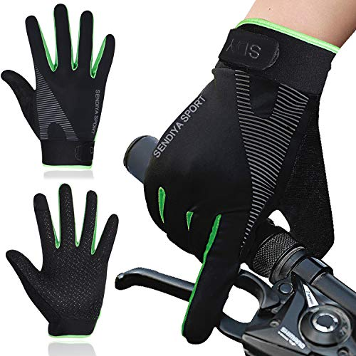 Bellady Workout Gloves for Men Women, Full Finger Gym Exercise Gloves, Touch Screen Grip Anti Slip Cycling Driving Motorcycle Fishing Gloves, Green X-Large