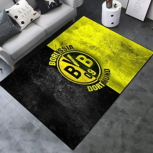 INSTUS Teppich Creative Einfach Kunst Dekoration Teppich Fußball Verein Logo Drucken rutschfeste Matte Geeignet für Restaurants Wohnzimmer Schlafzimmer / Dortmund2 / 80 * 120CM
