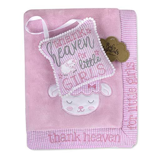 Baby Essentials Manta De Bebé De Felpa 30X40 con Ribete De Satén para Niños, Niñas |Oveja con Signo|