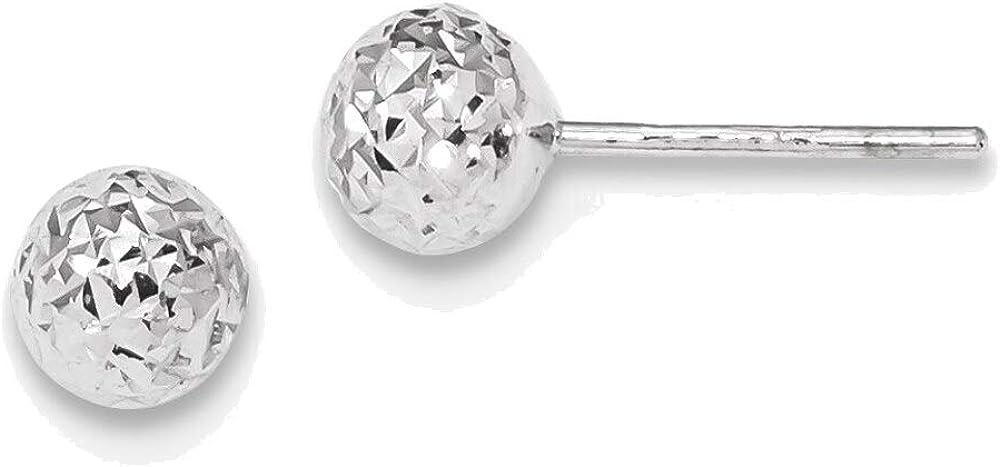 14kt White Gold Diamond-cut 6mm Ball Post Earrings