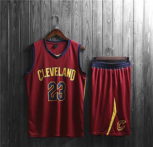 HS-XP Men's Women's NBA Jersey - Cleveland Cavaliers # 23 Lebron James Ropa Clásico Sin Mangas Niños Top T-Shirt + Set Shorts Set,Rojo,4XL(Adult) 180~185CM