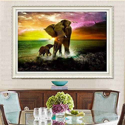 Pintura de Diamante 5D DIY para Adulto/niño,Elefante Bebé Elefante Diamond Painting Kit Completo Bordado Punto de Cruz Cristal Manualidades Para decor pared del hogar Round Drill,40x60cm(16x24in)
