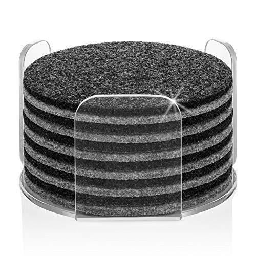 Premium Glasuntersetzer | Filzuntersetzer 13er Set - 12 Untersetzer für Gläser + 1 Acryl Halter | Aus Premium Europen Filz für Tisch, Tassen, Bar, Glas | Exklusive Box (Rund, Dunkelgrau/Grau)