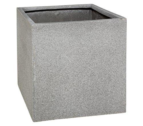 Dehner Pflanztopf, ca. 30 x 30 x 30 cm, Polystone, grau