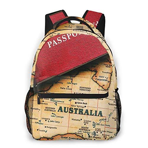 Rucksack Freizeit Und Ausflüge Damen Herren Mädchen, Campus Kinderrucksack, Daypack Tagesrucksack Für Schule, Sportrucksack, Tablet Tasche Touristenreisepass für Australien