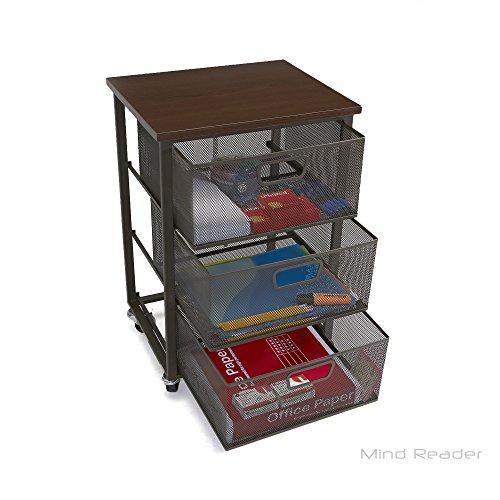 Mind Reader Rolling Storage Cart with 3 Drawers File Storage Cart Utility Cart Office Cart Drawer Storage Bathroom Storage
