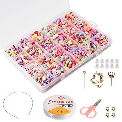 Perline fai da te per bambini Set (500pcs), Phogary Bracciali fai da te Collane perline per gioielli Fare per bambini Collana di perle Bracciale fare kit come perline Kit regalo per ragazze