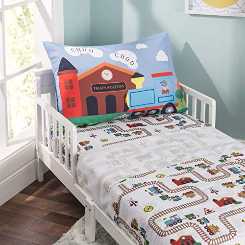 EVERYDAY KIDS 3-Piece Toddler Fitted Sheet, Flat Sheet and Pillowcase Set - Choo, Choo Train - Soft Microfiber, Breathable and Hypoallergenic Boys Toddler Sheets Set - Toddler Bed Sheets