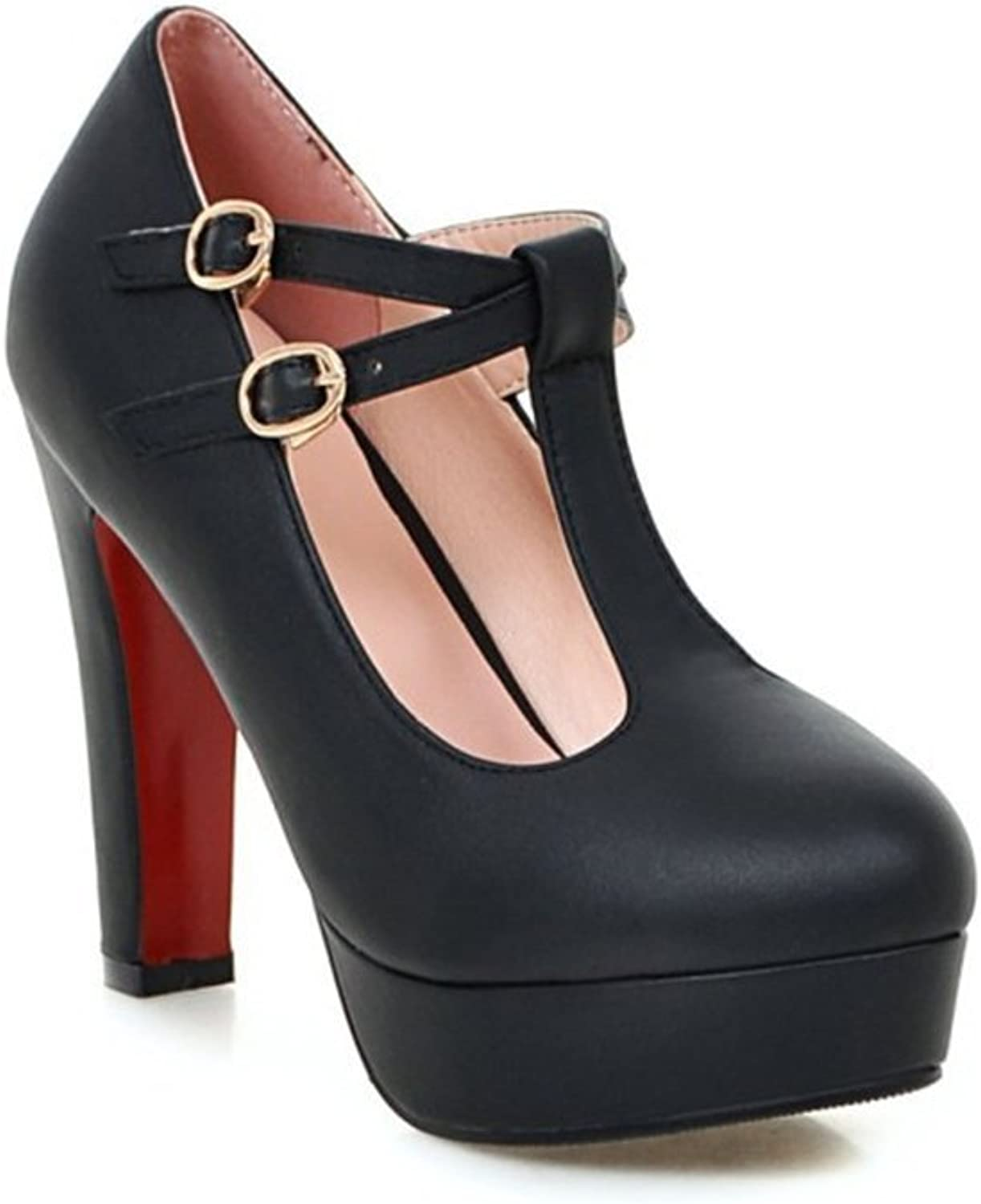 SUNNY Store Mary Jane Pumps Heels-Vintage Retro Round Toe shoes with Ankle Strap