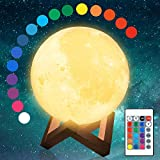Aodue Moon Lamp, 16 Colors Changing LED 3D Luna Moon Night Light with Wood Stand, Remote and Touch Control, USB Rechargeable, Globe Moon Lamps for Bedrooms Decor, Kids Birthday Gift (5.9 inches)