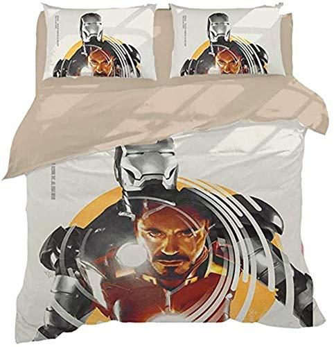 Ropa de cama de Iron Man de 135 x 200 cm, Marvel Superhero, 1 funda nórdica con cremallera, 2 fundas de almohada de 80 x 80 cm (Iron Man-3, 135 x 200 cm + 80 x 80 cm x 2)
