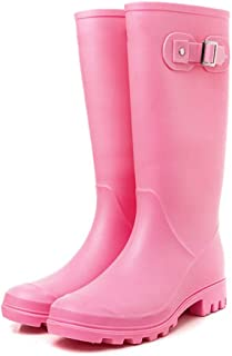 Rain Boots |Women's Waterproof Rain Boots| Tall Long Non Slip Rain Boots|Rainy Season Measures rain Boots (Color : Pink, Size : 24CM)