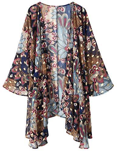 OLRAIN Women's Floral Print Sheer Chiffon Loose Kimono Cardigan Capes (Small, Gold Peacock)