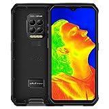 Telephone Portable Incassable, Ulefone Armor 9 avec Imagerie Thermique FLIR®, 8Go+128Go Écran 6.3 Pouces FHD+,64MP/5MP+16MP, Batterie 6600mAh, Smartphone Débloqué 4G, Helio P90, NFC/Face ID